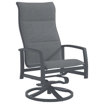Tropitone Muirlands Padded High Back Swivel Rocker with Fog Bound Sling in Graphite, , large
