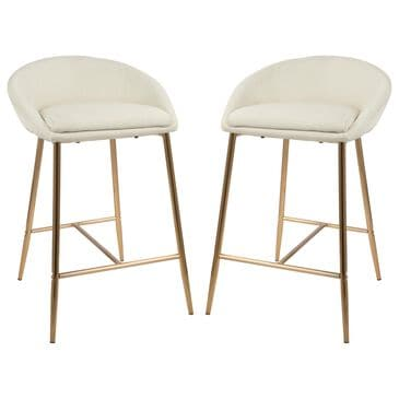 "Lumisource Matisse 26"" Counter Stool in Cream/Gold (Set of 2), , large"