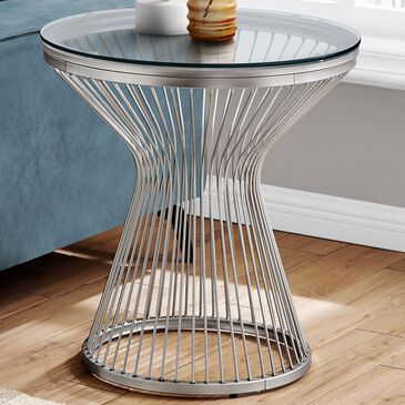 Monarch Specialties Accent Table in Clear and Stainless Steel, , large