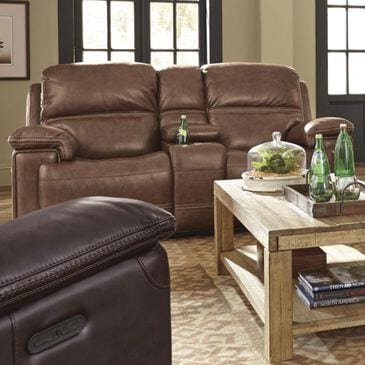 Flexsteel Fenwick Power Loveseat with Console and Headrest in Light Brown, , large