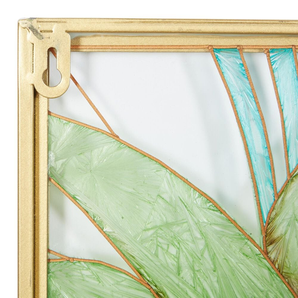 CosmoLiving by Cosmopolitan Contemporary Glass Wall Decor in Green (Set of 3), , large