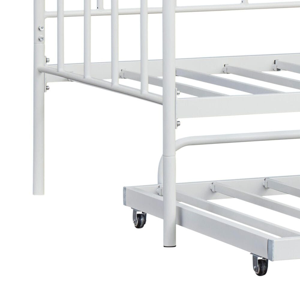Signature Design by Ashley Trentlore Twin Metal Day Bed with Trundle in White, , large