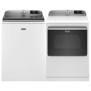 Maytag 5.2 Cu. Ft. Top Load Washer and 7.4 Cu. Ft. Electric Dryer Laundry Pair in White, , large