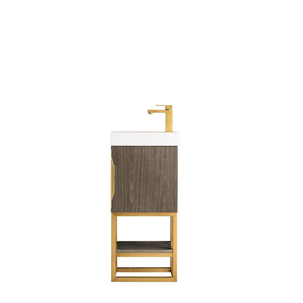 """James Martin Columbia 16"""" Single Vanity Cabinet in Ash Gray, Radiant Gold, with White Glossy Solid Surface Top, , large"""