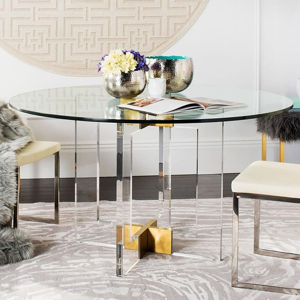 """Safavieh Xevera 42"""" Dining Table in Brass, , large"""