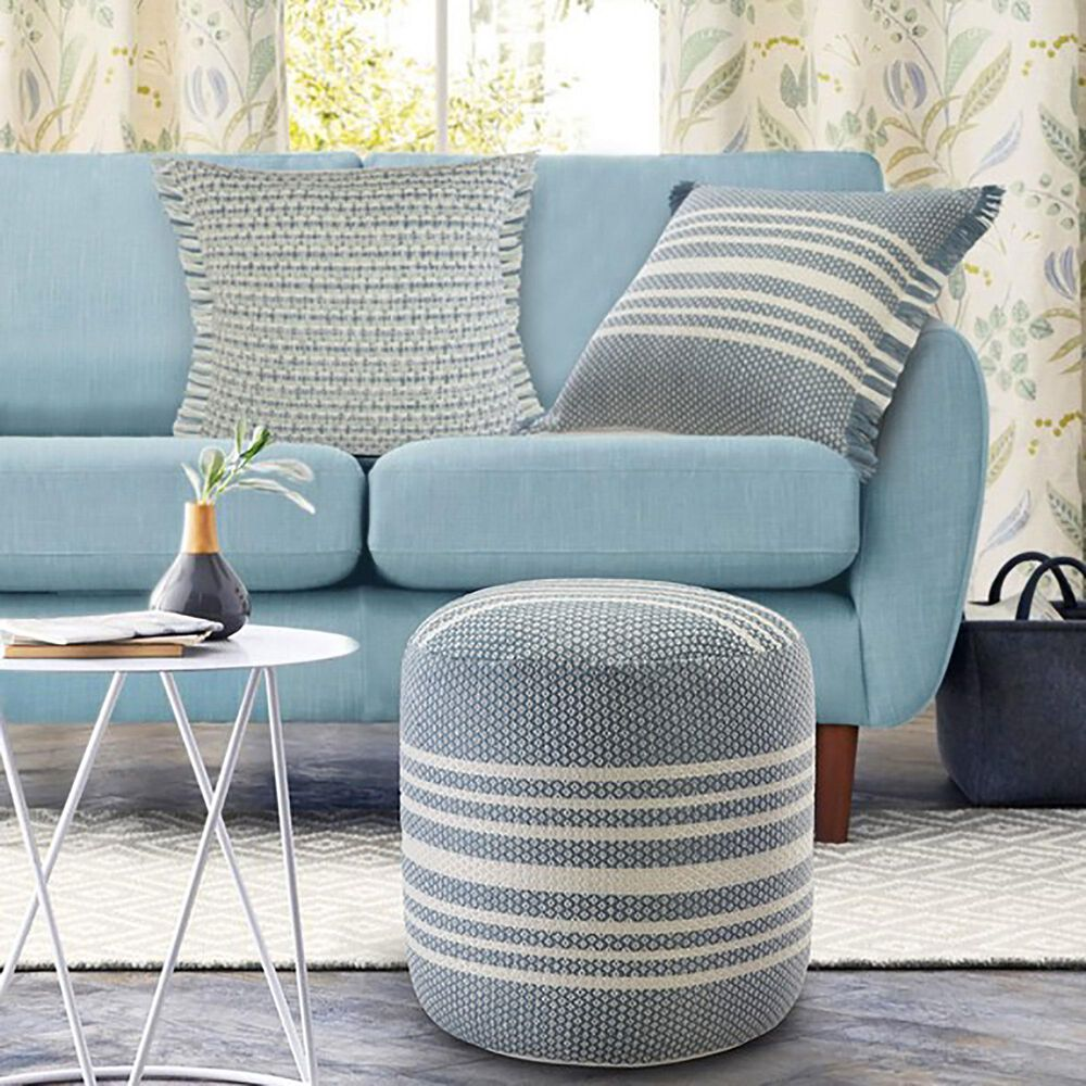 L.R. RESOURCES Stripe Outdoor Pouf in Light Blue and White, , large