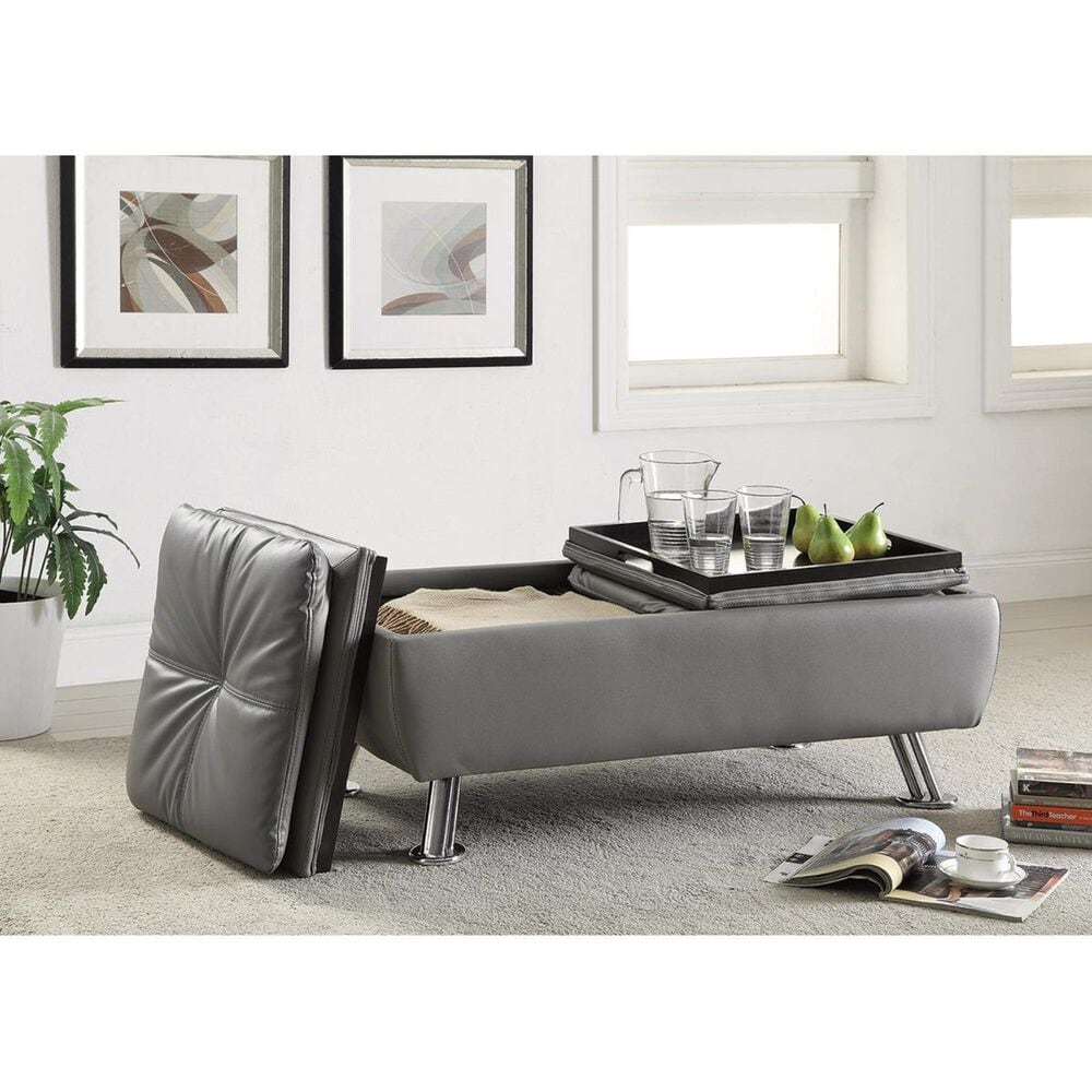 Pacific Landing Dilleston Ottoman with Chrome Legs in Grey, , large
