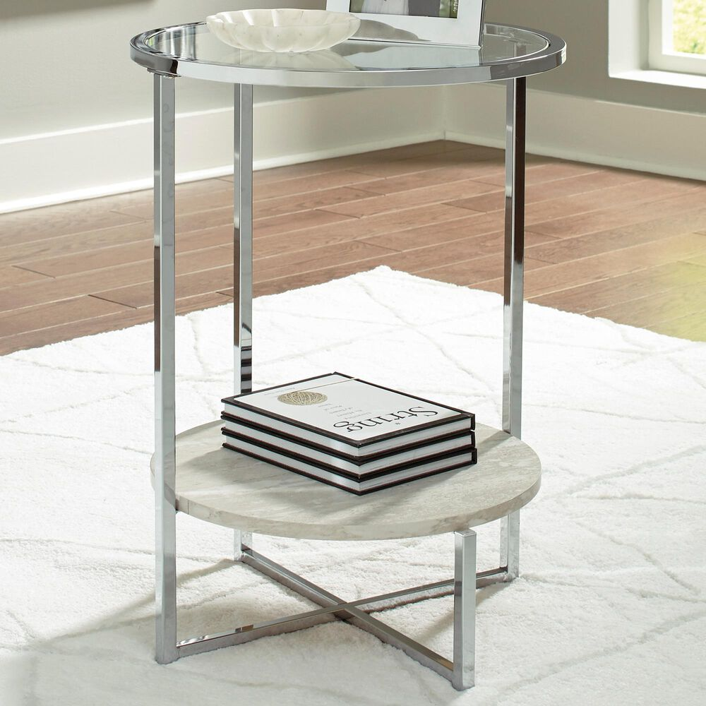 Signature Design by Ashley Bodalli Round End Table in Faux Travertine Marble and Chrome, , large