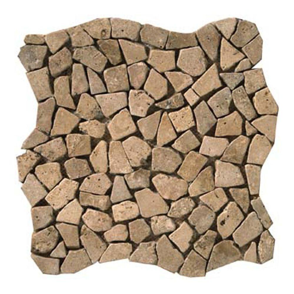 "Emser Trav Ancient Tumbled Mocha Pebble 12"" x 12"" Natural Stone Mosaics Sheet, , large"