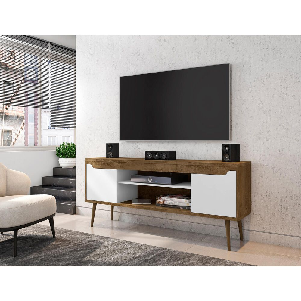 """Dayton Bradley 62.99"""" TV Stand in Rustic Brown/White, , large"""