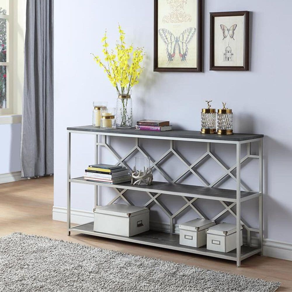 Shell Island Furniture Console Table in Toro Dark Brown and Silver, , large