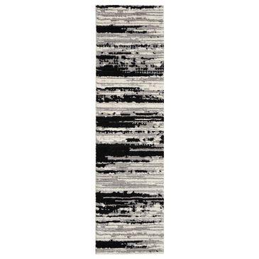 "Nourison Zermatt ZER02 2'2"" x 7'6"" Ivory and Charcoal Runner, , large"