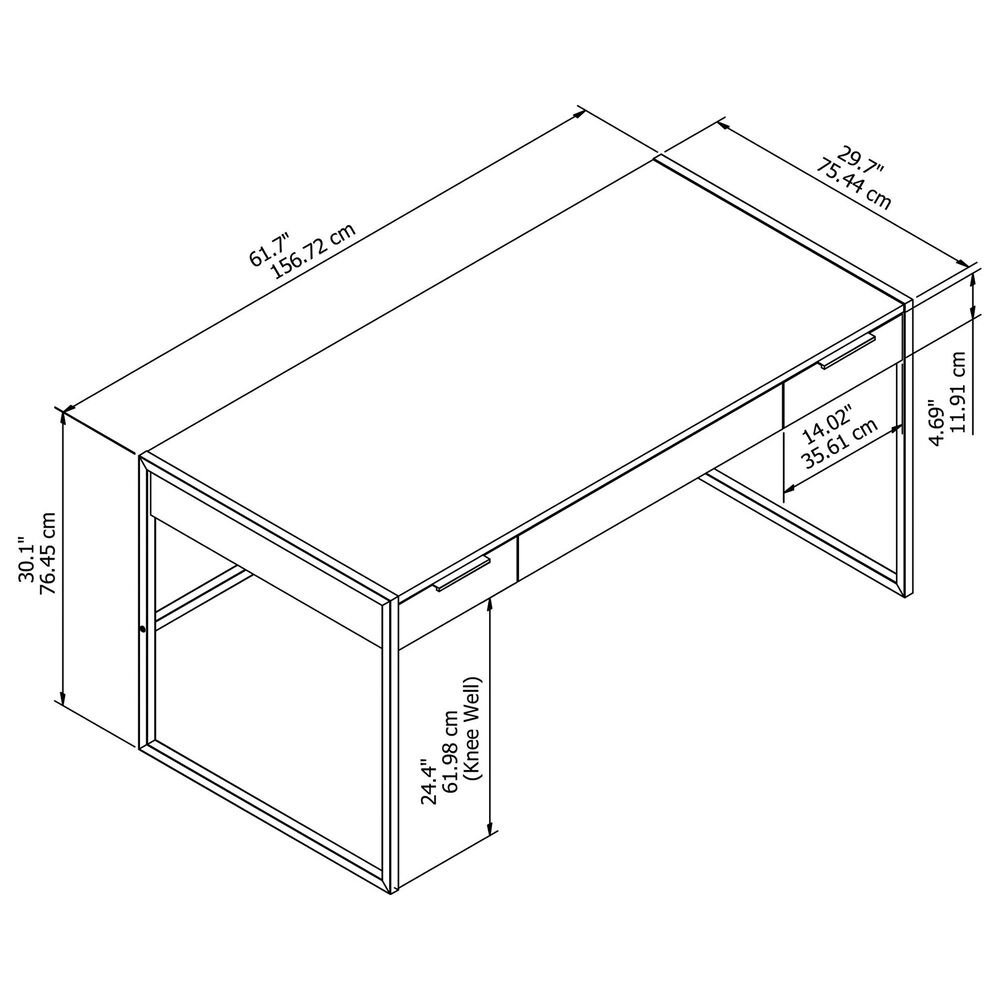 """Bush Atria 60"""" Writing Desk with Drawers in Charcoal Gray, , large"""
