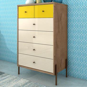 Dayton Joy 6 Drawer Tall Dresser in Yellow, , large