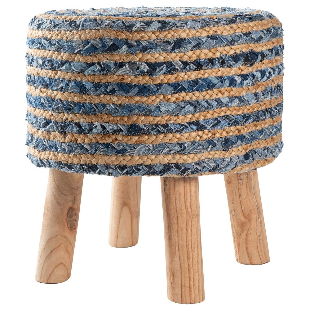 Surya Inc Cambrai Stool in Navy, Blue, Light Gray and Tan, , large