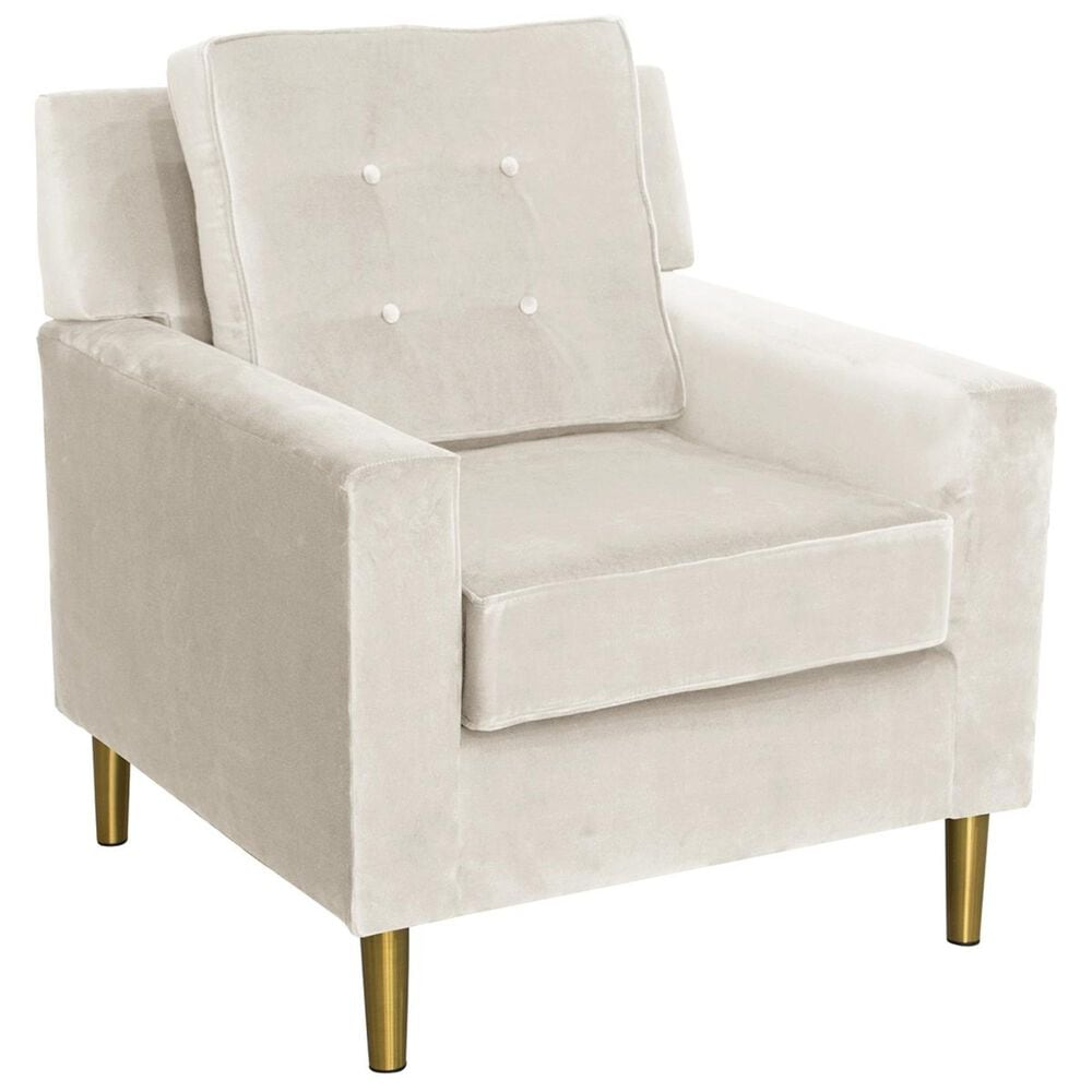 Skyline Furniture Arm Chair with Metal Legs in Regal Antique White Velvet, , large