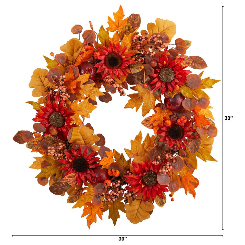 Nearly Natural Inc 30in. Fall Acorn, Sunflower, Berries and Autumn Foliage Artificial Wreath, , large
