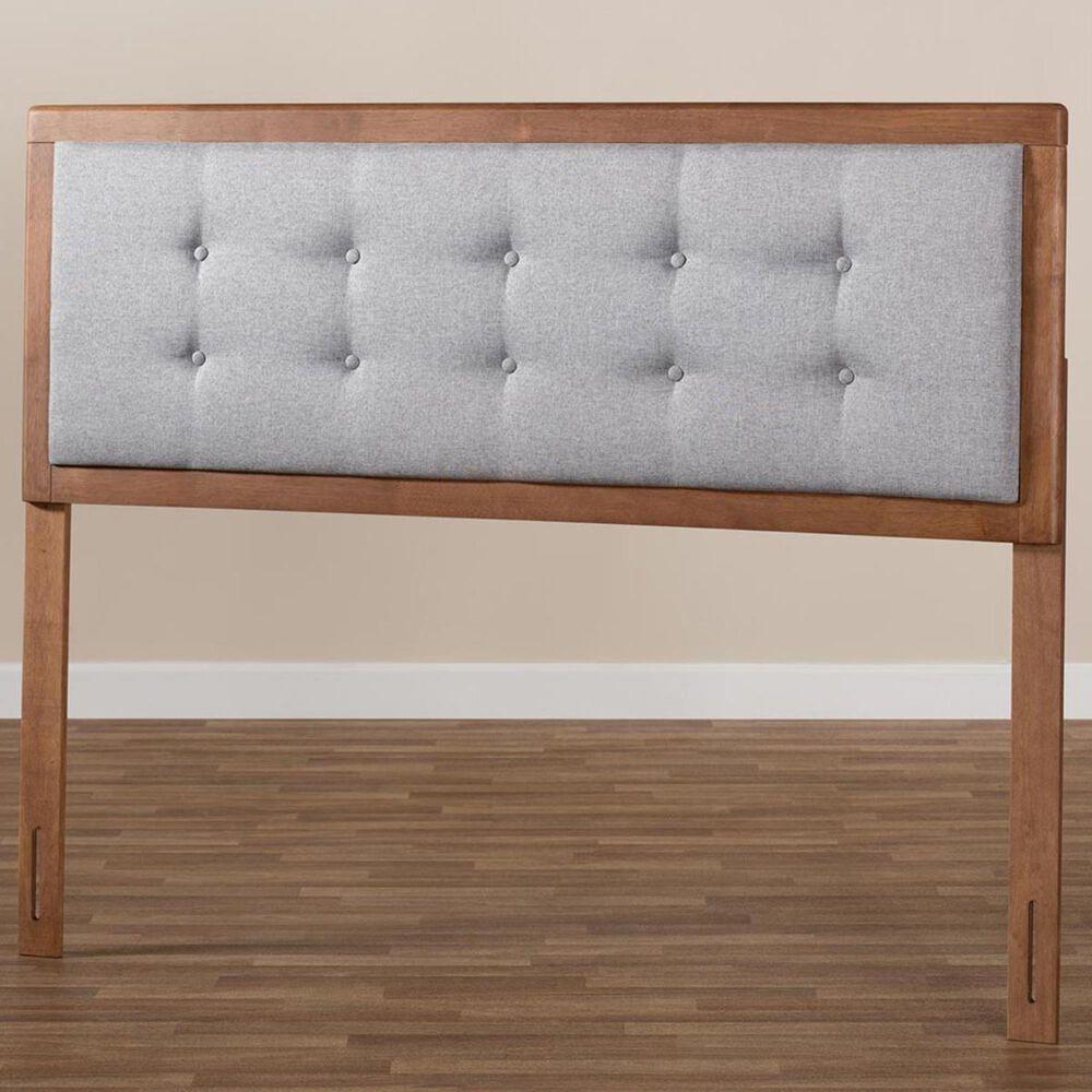 Baxton Studio Sarine Queen Upholstered Headboard in Light Gray/Walnut, , large