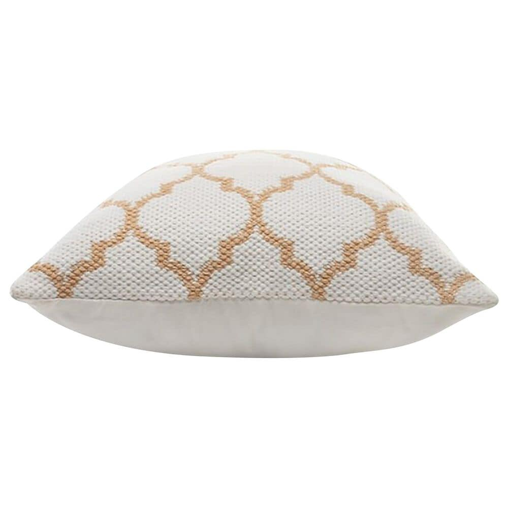 """L.R. RESOURCES Lattice 20"""" x 20"""" Outdoor Throw Pillow in White and Caramel, , large"""