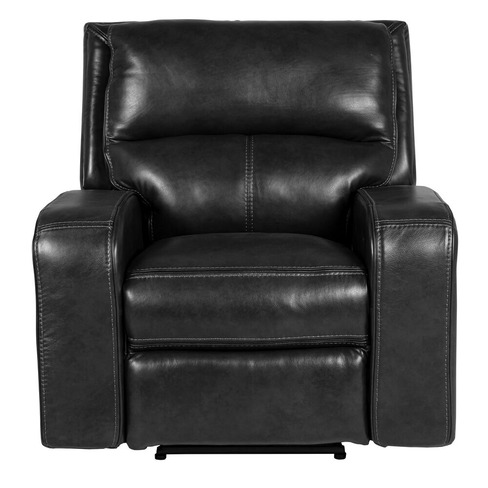 Oxford Furniture Leather Power Recliner with Power Headrest in Pewter, , large