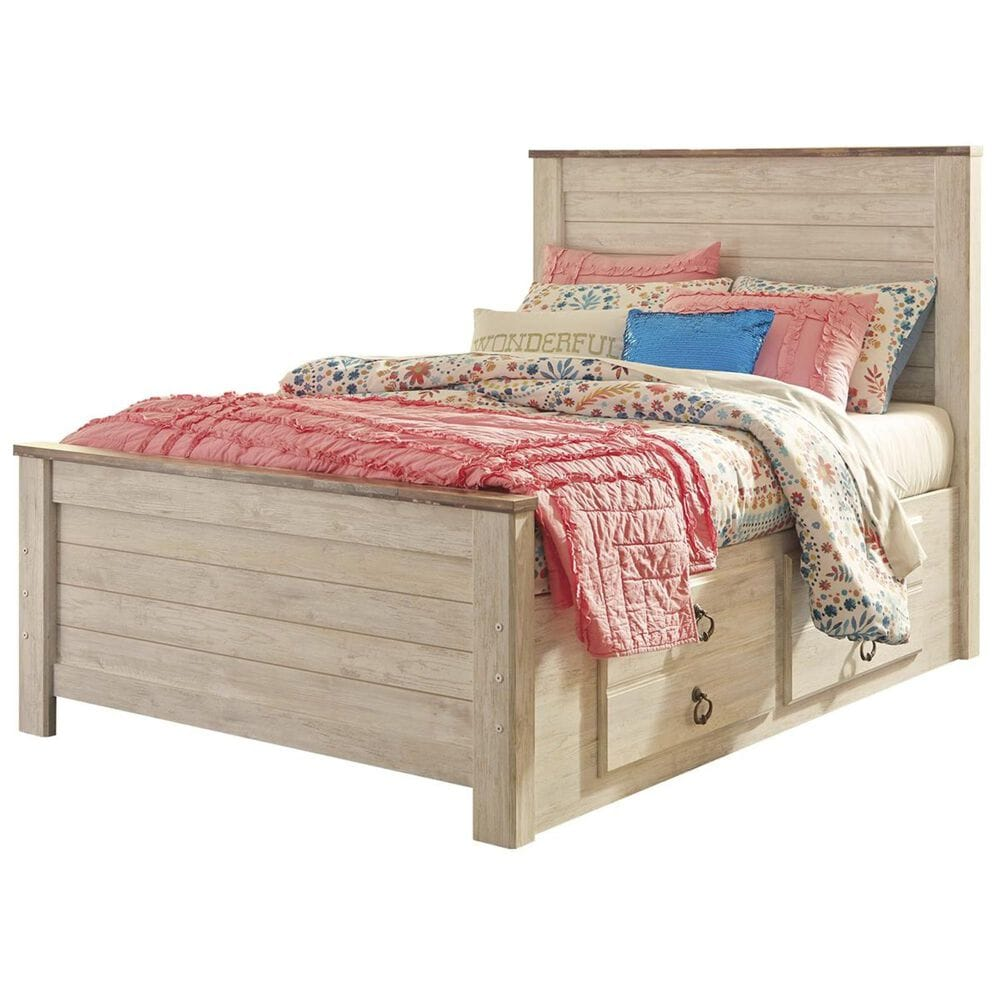 Signature Design by Ashley Willowton 3 Piece Full Bedroom Set in Whitewash, , large