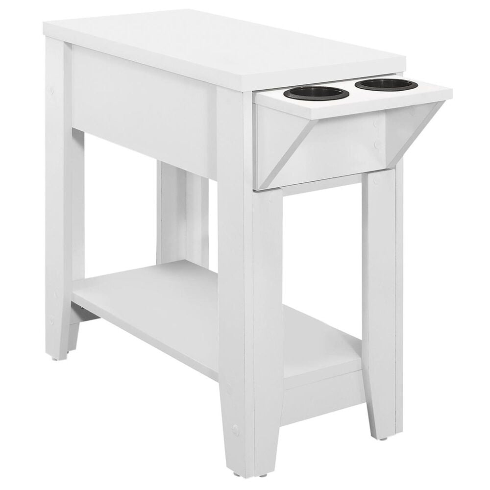 """Monarch Specialties 23"""" Accent Table with Glass Holder in White, , large"""