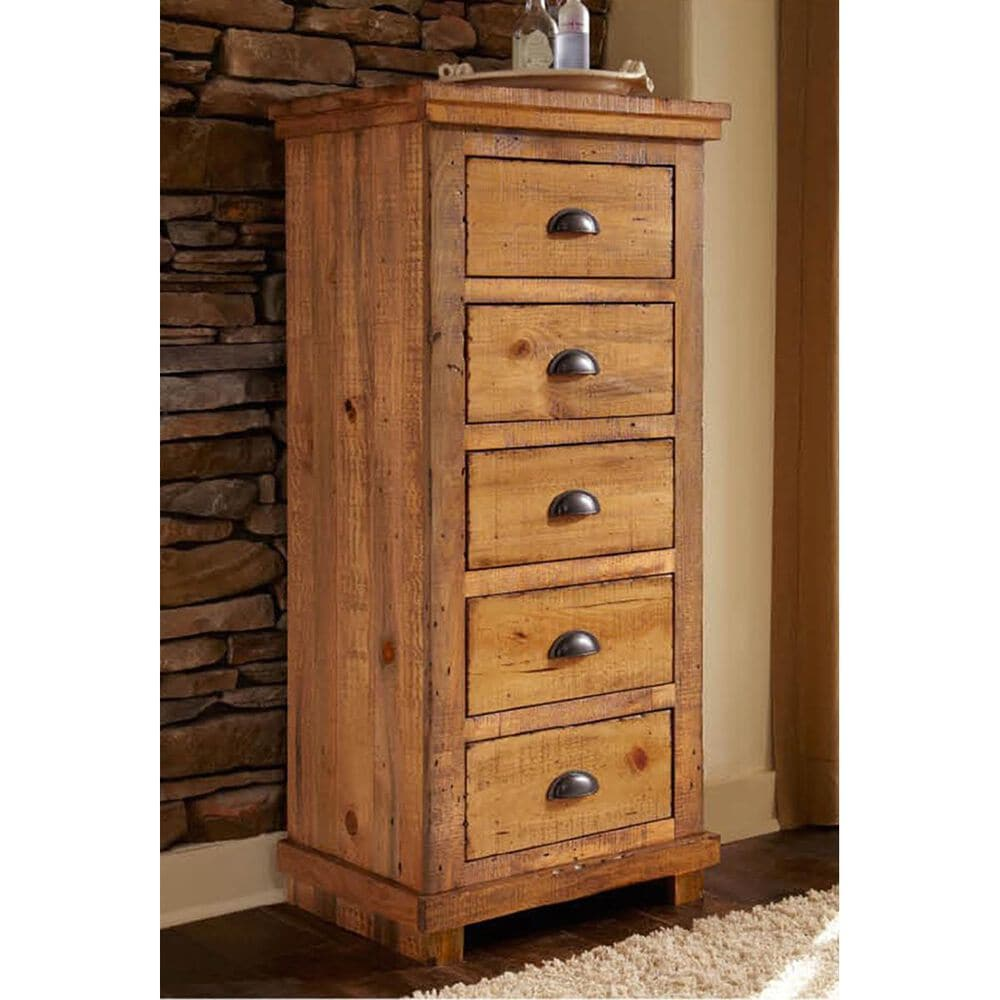 Tiddal Home Willow Lingerie 5 Drawer Chest in Distressed Pine, , large