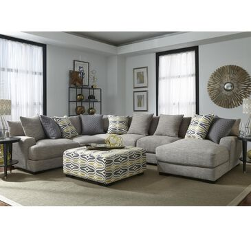 Moore Furniture Barton 5-Piece Sectional and Ottoman in Fog, , large