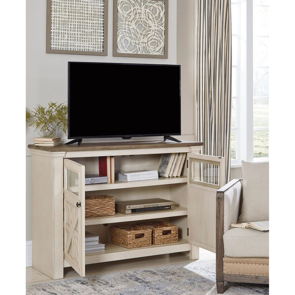 """Signature Design by Ashley Bolanburg 50"""" TV Stand in Textured White and Weathered Gray, , large"""