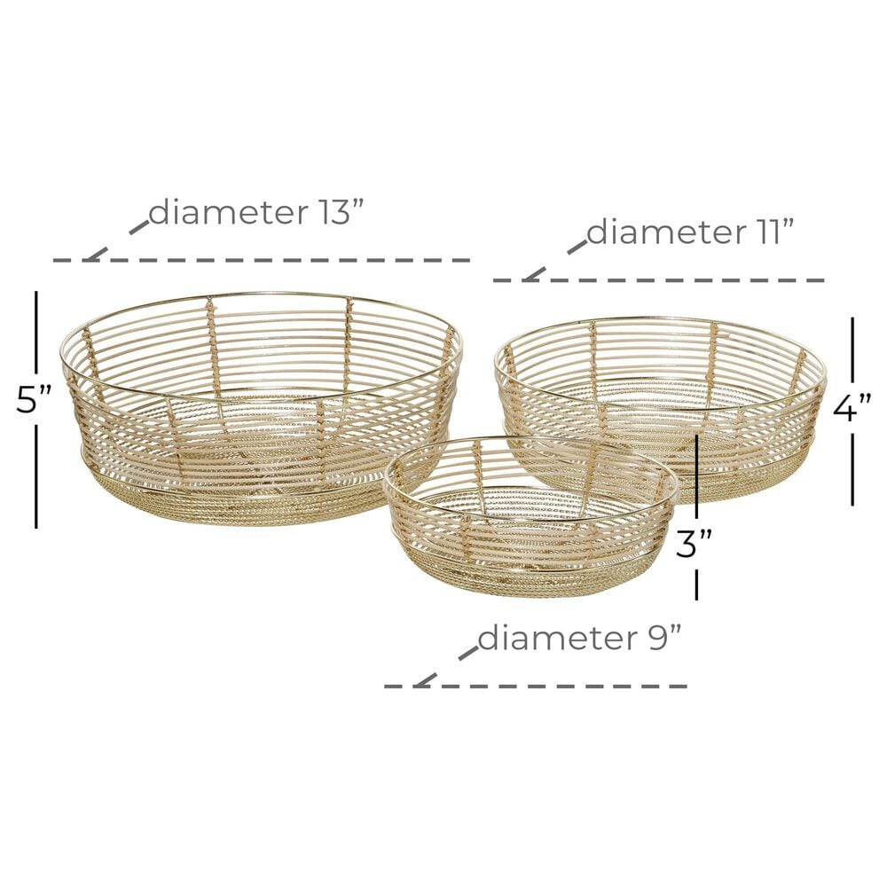 Maple and Jade Contemporary Bamboo Decorative Bowls in Gold (Set of 3) , , large
