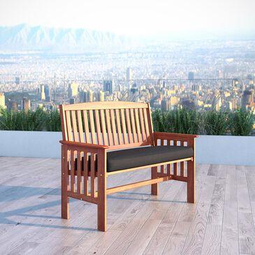 CorLiving Miramar Hardwood Bench with Black Cushion in Cinnamon Brown, , large