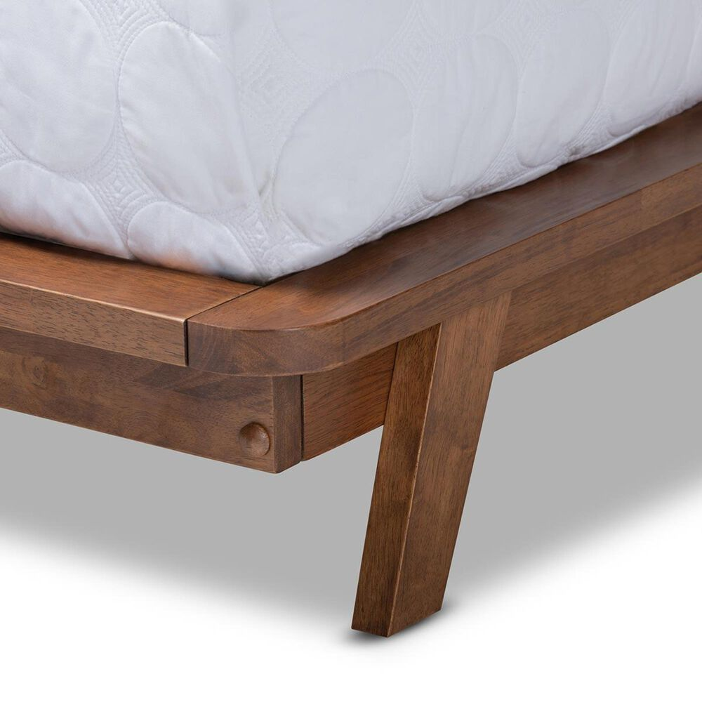 Baxton Studio Sante Full Upholstered Platform Bed in Gray/Walnut, , large