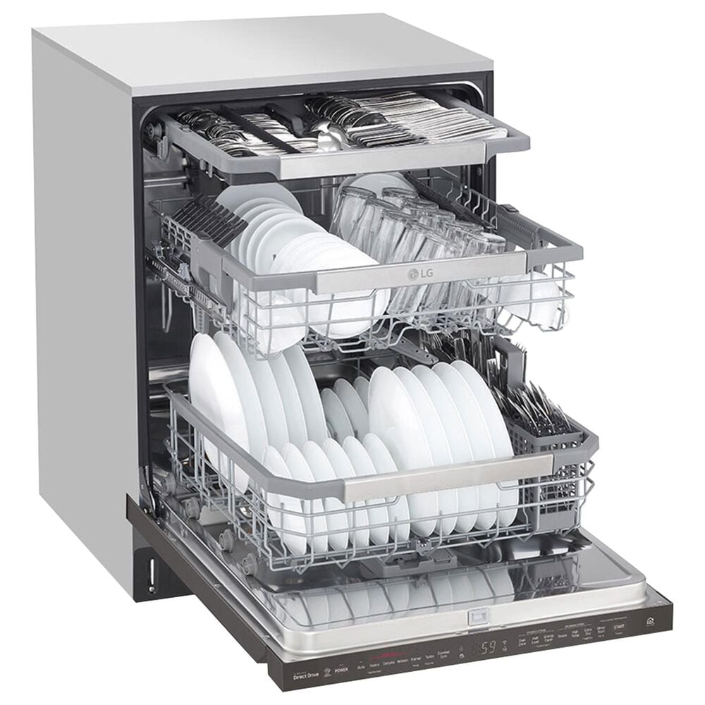 """LG QuadWash 24"""" Built-In Pocket Handle Dishwasher with 3 Rack in Black Stainless, , large"""