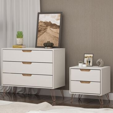 Dayton Rockefeller 2 Piece Dresser & Nightstand Set in Off White and Nature (Set of 2), , large