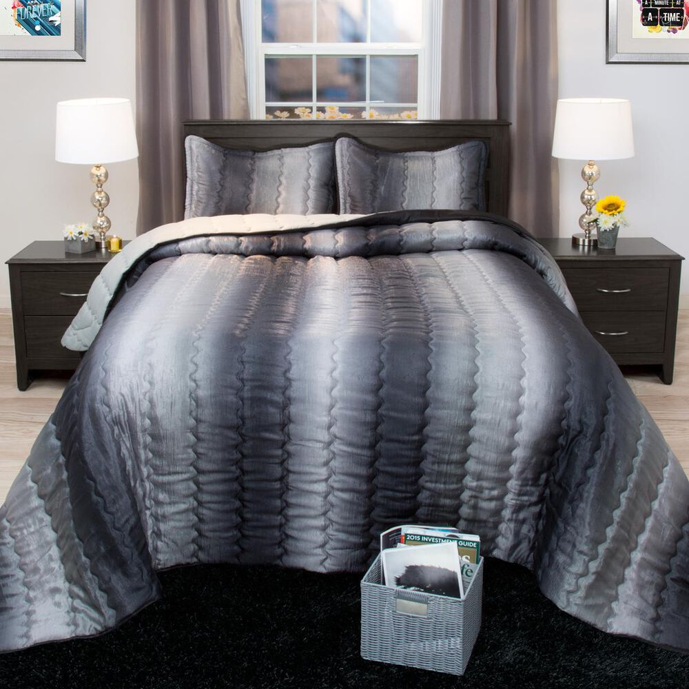 Timberlake Lavish Home Striped Metallic Twin Bedspread Set in Charcoal/Silver, , large