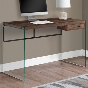 """Monarch Specialties 48"""" Computer Desk in Brown Reclaimed Wood and Glass, , large"""