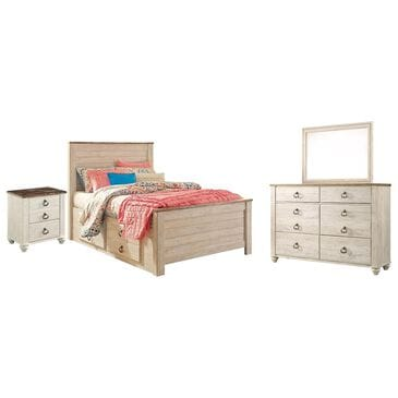 Signature Design by Ashley Willowton 4 Piece Full Storage Bedroom Set in White Wash, , large