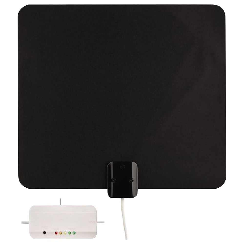 Audiovox Ultra Thin Multi-Directional Amplified Indoor Antenna with Signal Meter, , large