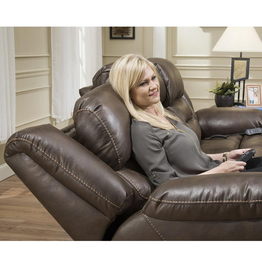 HomeStretch Power Reclining Loveseat with Headrest and Lumbar in Walnut, , large