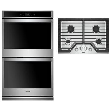 """Whirlpool 2-Piece Kitchen Package with 30"""" Double Oven and Gas Cooktop in Stainless Steel, , large"""
