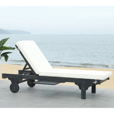 Safavieh Newport Chaise Lounge Chair with Side Table in Black and White, , large