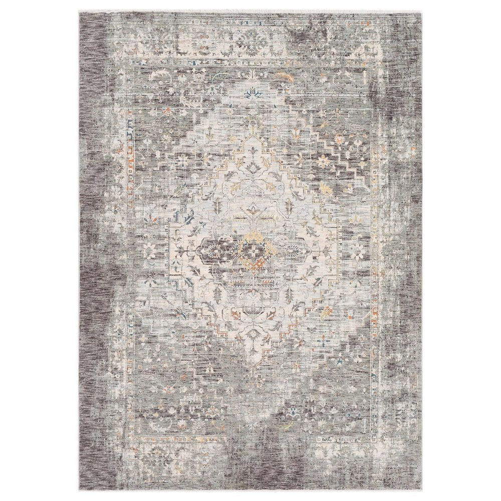 """Surya Presidential PDT-2311 5"""" x 8"""" Charcoal, Ivory, Blue and Orange Area Rug, , large"""