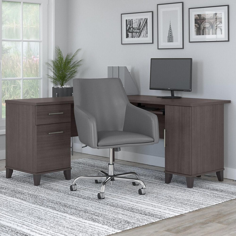 Bush Somerset 2 Piece Office Desk Set in Storm Gray, , large