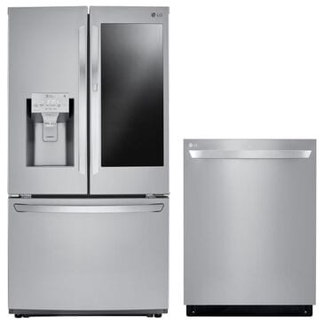 LG 26 Cu. Ft. French Door Refrigerator and Top Control Dishwasher with QuadWash in Stainless Steel, , large