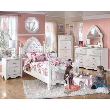 Signature Design by Ashley Exquisite 4 Piece Twin Poster Bedroom Set in White, , large