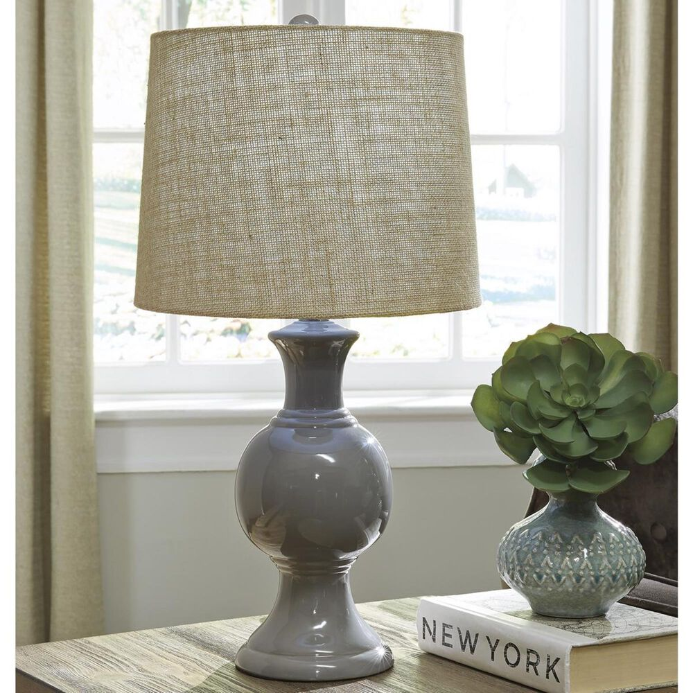 Signature Design by Ashley Magdalia Ceramic Table Lamp in Gray, , large