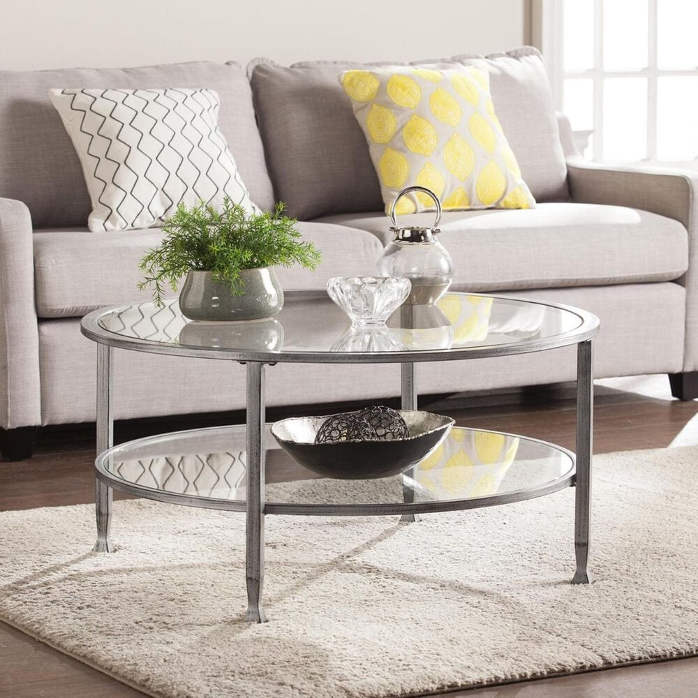 Southern Enterprises Jaymes Round Coffee Table in Distressed Silver and Black, , large