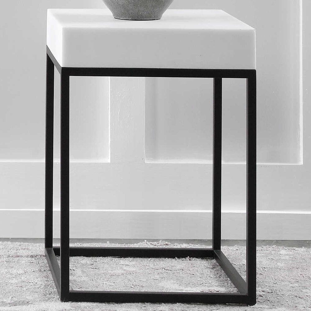 Uttermost Gambia Accent Table in White and Black, , large