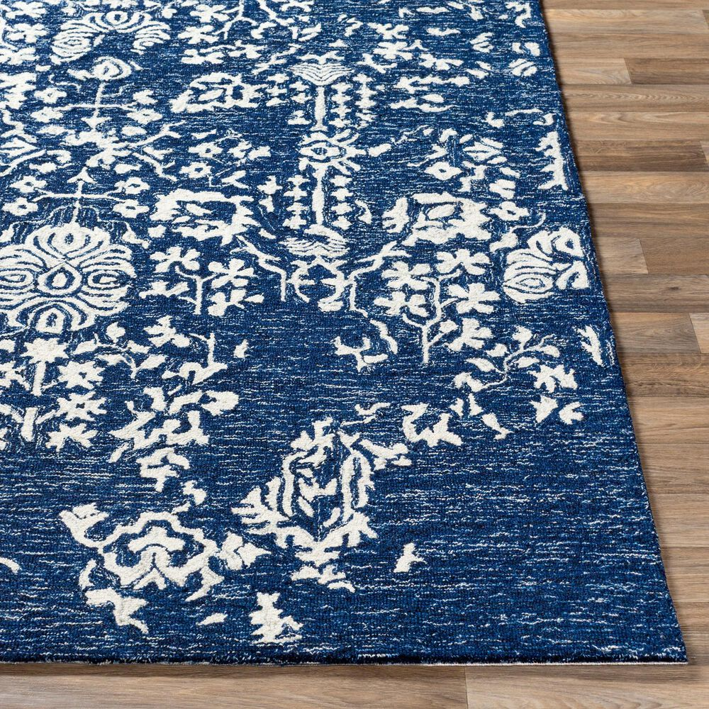 "Surya Granada GND-2311 2'6"" x 10' Dark Blue, Denim and Ivory Runner, , large"