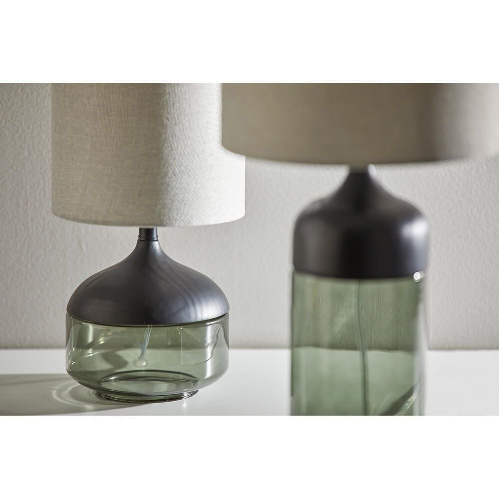 Adesso Marina Table Lamp in Black and Smoked Glass, , large